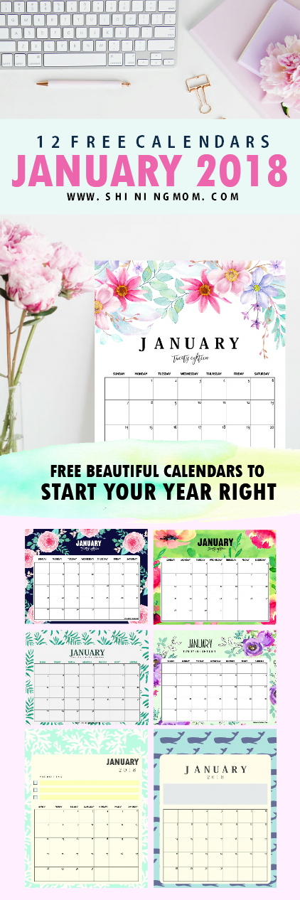 free January 2018 calendar printable