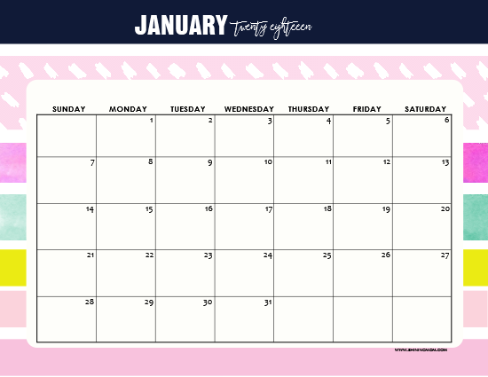 Free Printable January 2018 Calendar 12 Awesome Designs