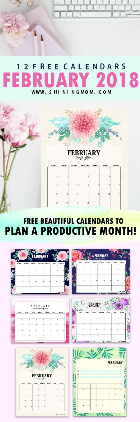 free printable February 2018 calendar