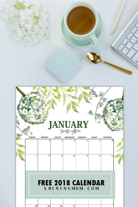 free printable jan 2018 calendar
