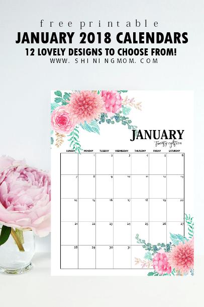 Free printable January 2018 calendar