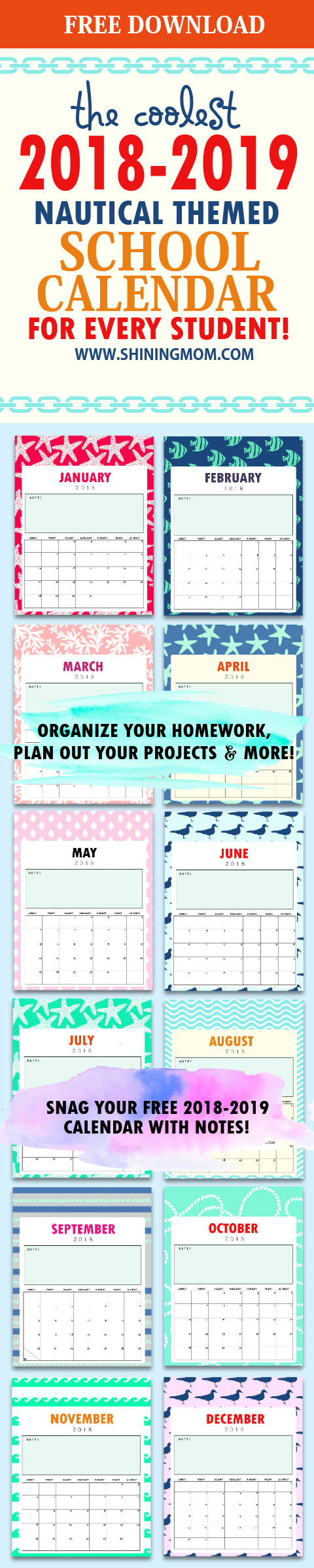 Free school calendar 2018 for kids