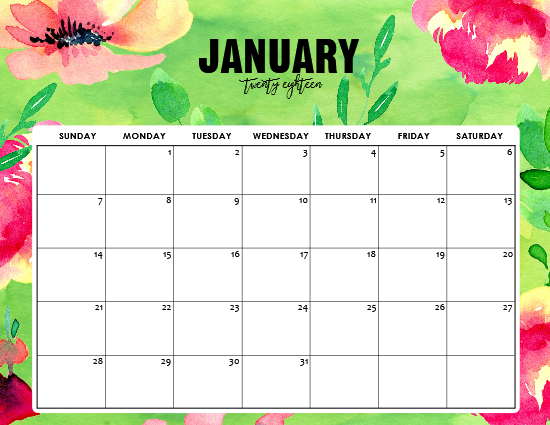 Free Printable January 2018 Calendar: 12 Awesome Designs