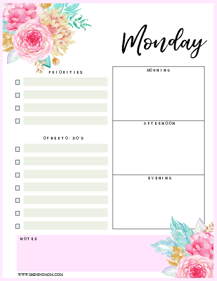 graphic about Daily Planner Template identified as Every day Agenda Template: 14 No cost Eye-catching Day-to-day Planners!