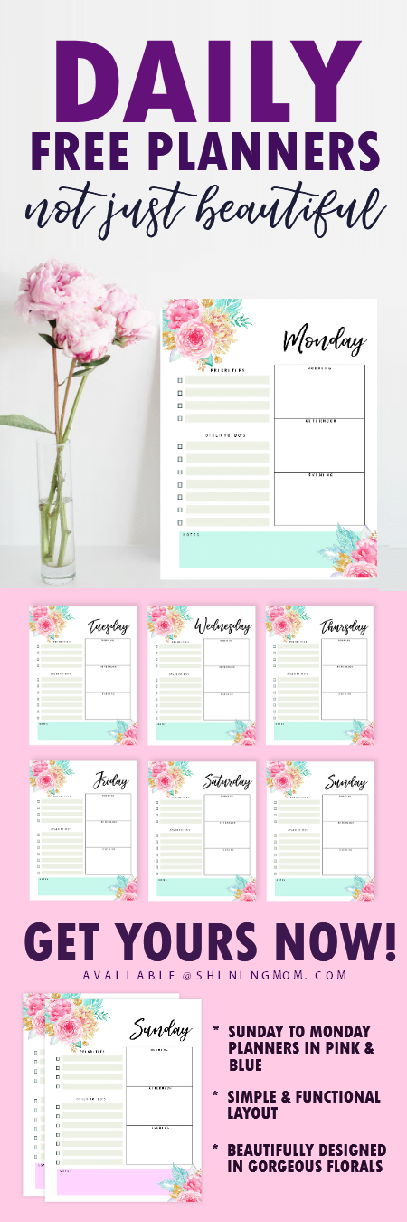 free printable daily planner 2018