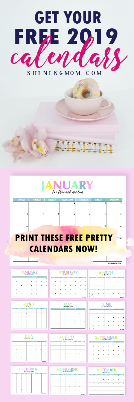 Free Printable 2019 Calendar: Beautiful and Colorful!