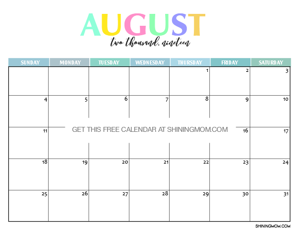August Calendar 2019 : Free printable calendar beautiful and colorful