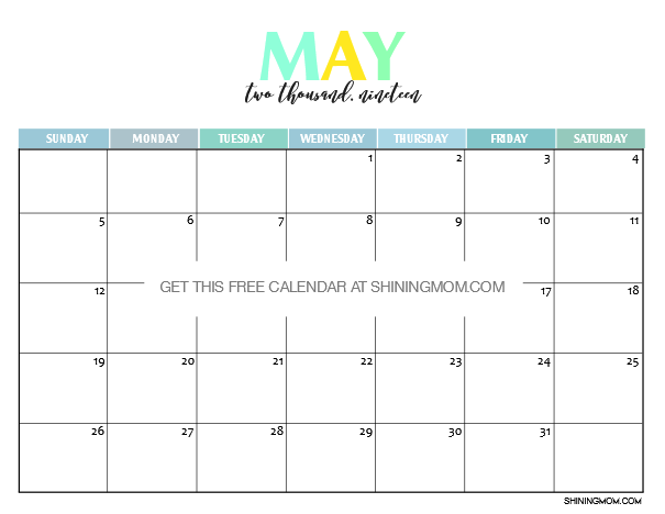 Free Printable 2019 Calendar Beautiful And Colorful