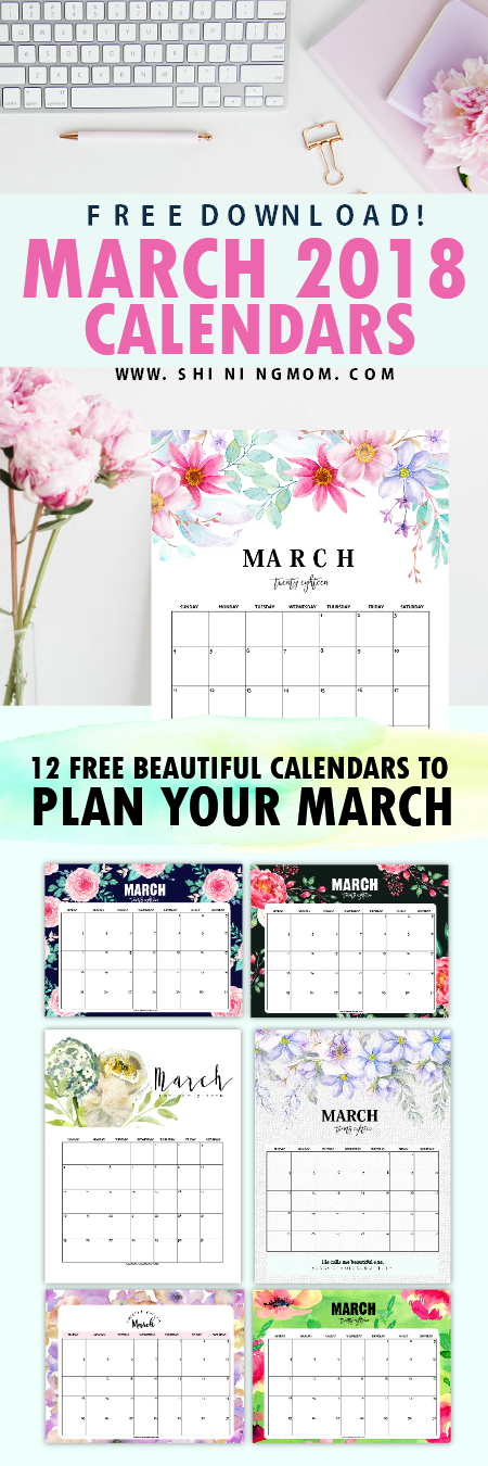 March 2018 calendar printables