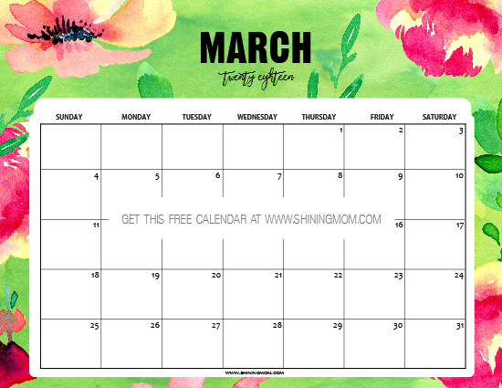 Cute Calendar March 2018 : Free printable march calendar awesome designs