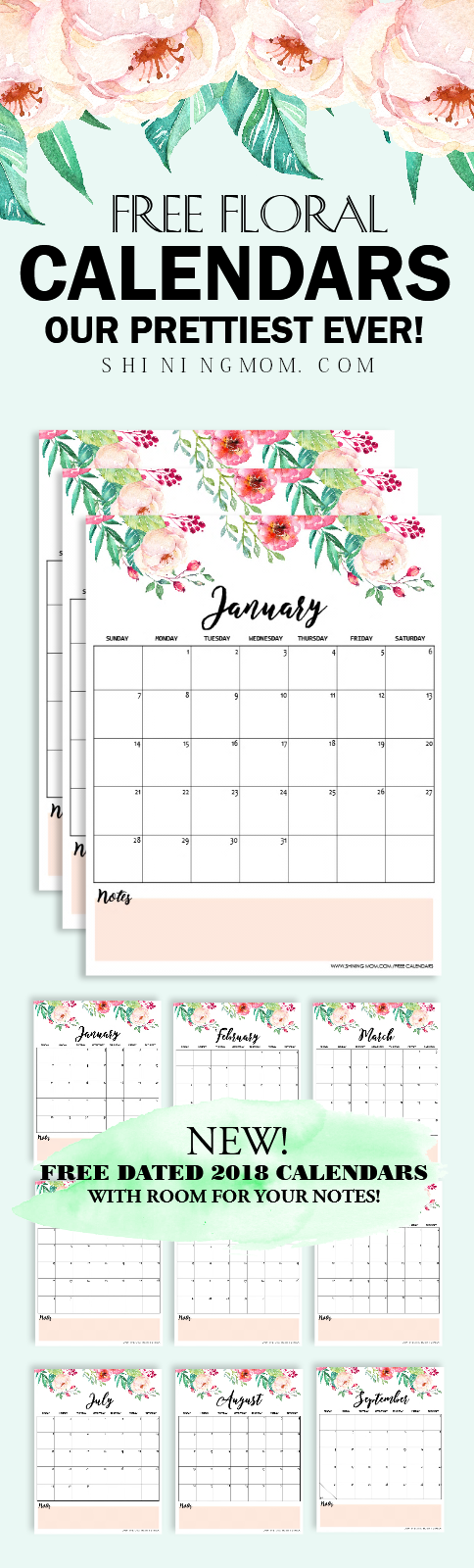 printable 2018 monthly calendar free
