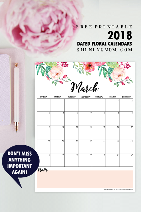 March 2018 calendar to print for free