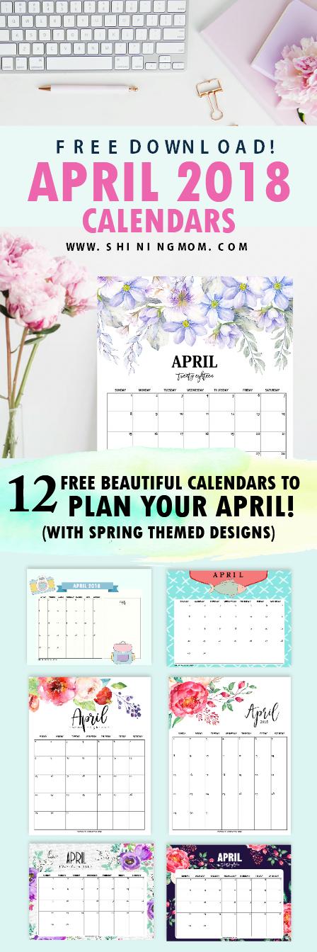 April 2018 calendar printables free