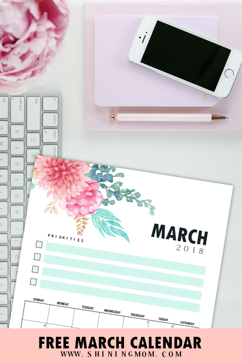 March 2018 calendar with notes