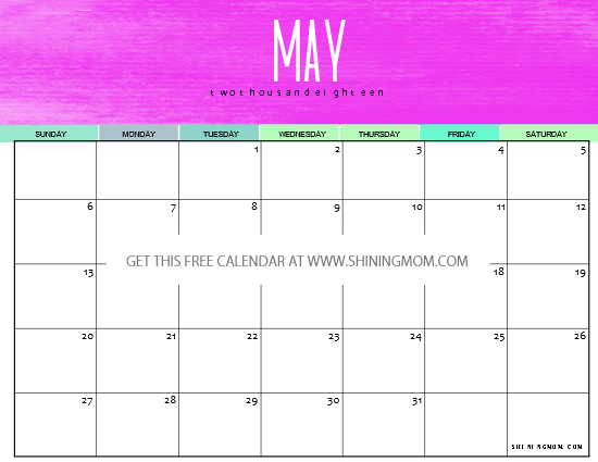 12 Free Printable May 2018 Calendar Planners