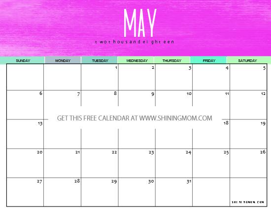cute May 2018 calendar