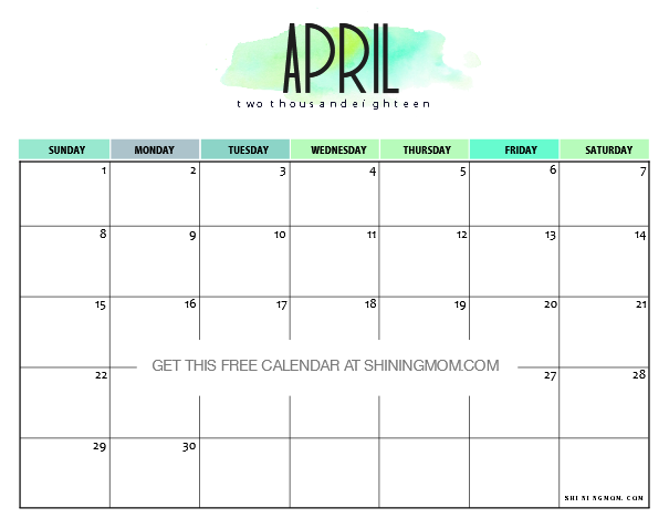 gorgeous free printable april 2018 calendar