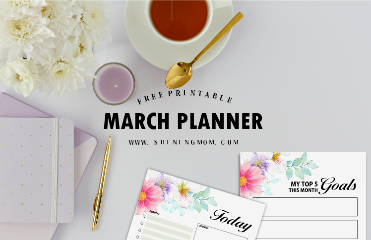 free printable March planner pretty