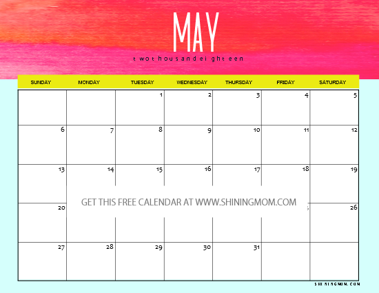 cute may 2018 calendar printable
