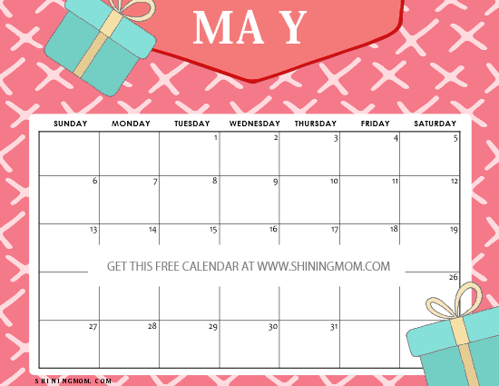 free printable may 2018 calendar kids