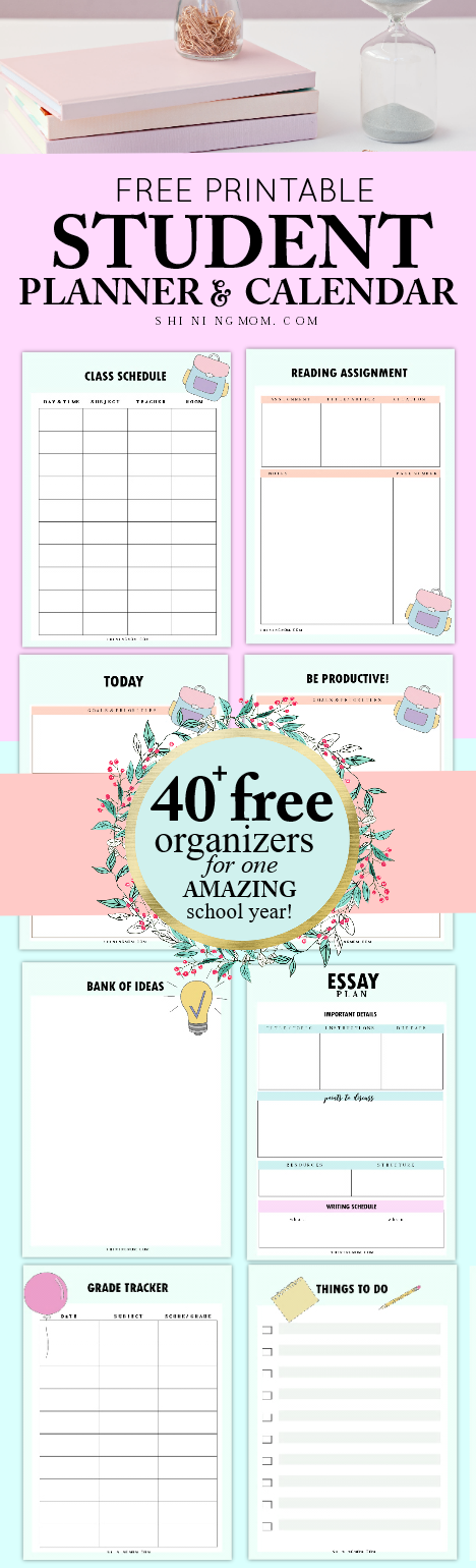 graphic regarding Student Agenda Printable known as 40+ Absolutely free College student Planner Printables for Back again-towards-College or university!