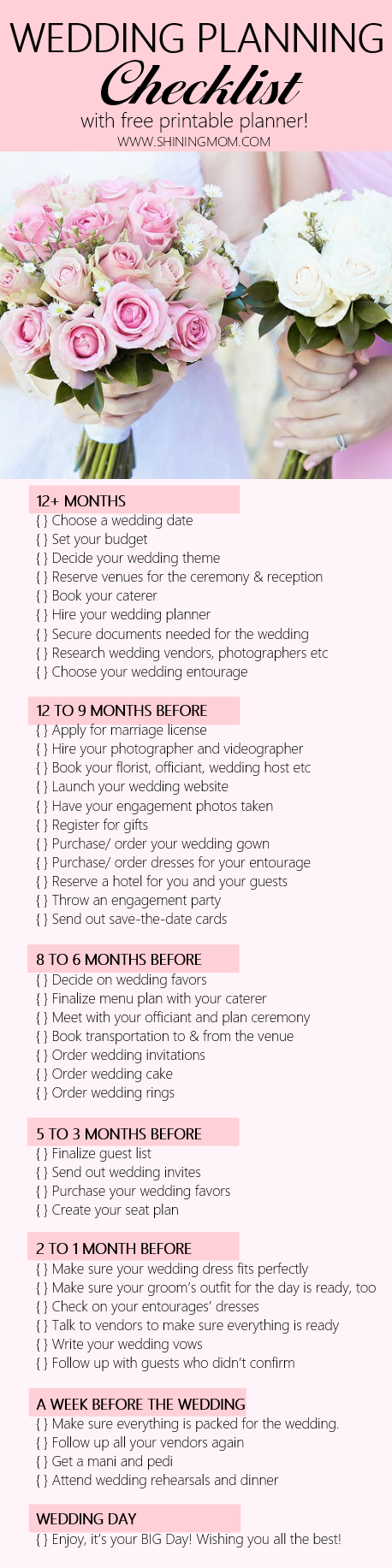 Free printable wedding planner with wedding checklist junglespirit Gallery
