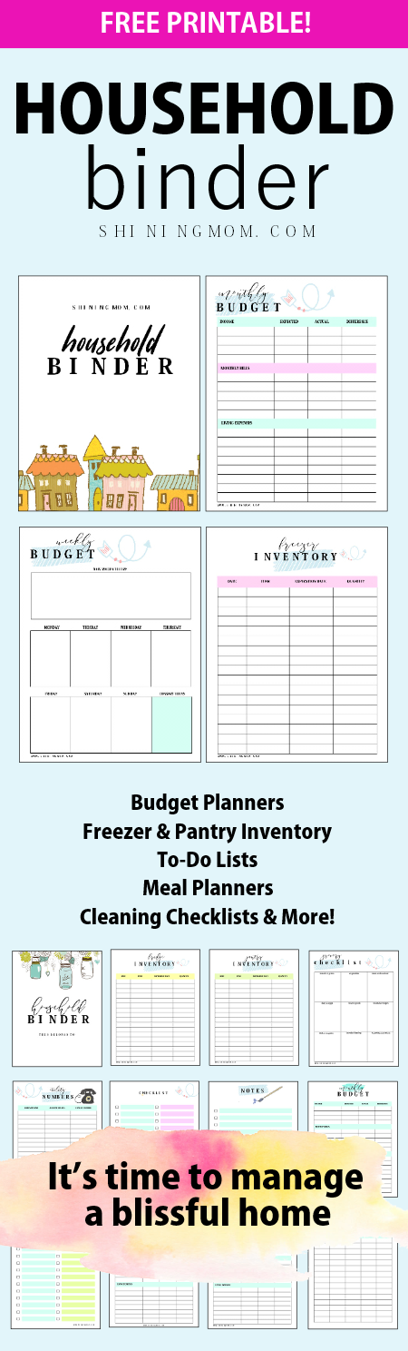free printable household binder